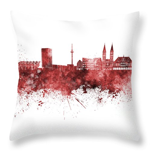 Bremen Skyline Throw Pillow featuring the painting Bremen Skyline In Watercolor Background by Pablo Romero