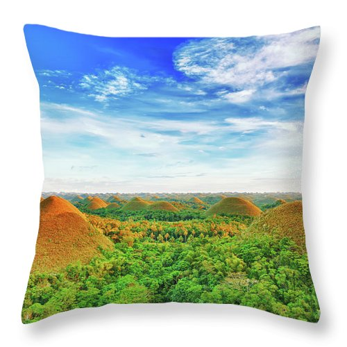 Chocolate Hills Throw Pillow featuring the photograph Chocolate Hills by MotHaiBaPhoto Prints