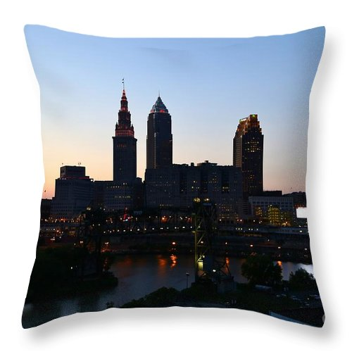 Destination Throw Pillow featuring the pyrography Cleveland Skyline by Douglas Sacha
