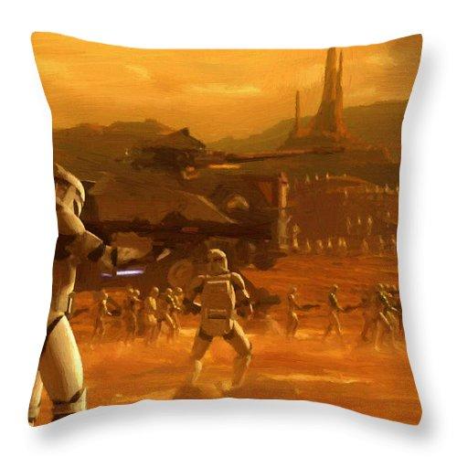Star Wars Throw Pillow featuring the digital art Episode 2 Star Wars Art by Larry Jones