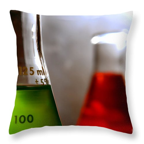 Erlenmeyer Throw Pillow featuring the photograph Equipment In Science Research Lab by Olivier Le Queinec