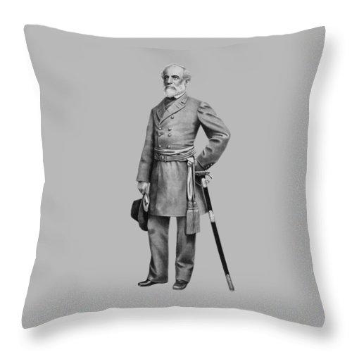 Robert E Lee Throw Pillow featuring the mixed media General Robert E Lee by War Is Hell Store