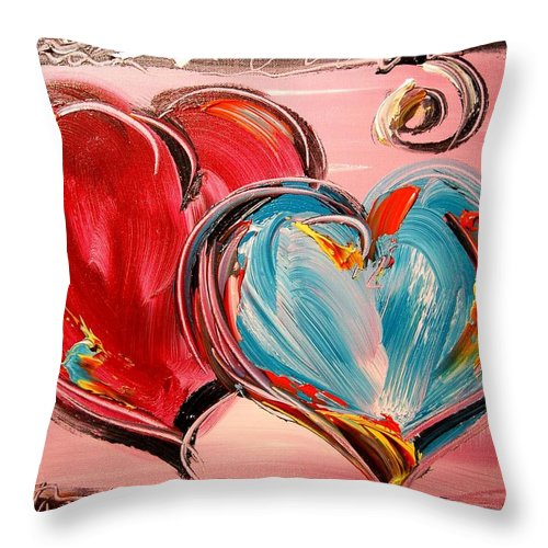 Red Poppies Throw Pillow featuring the painting Hearts by Mark Kazav