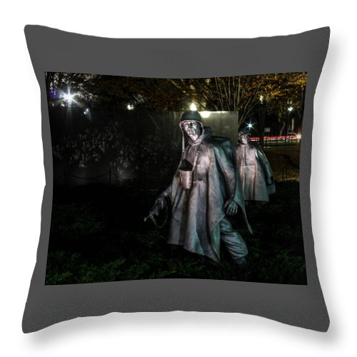 Washington Dc Dec 1 Throw Pillow featuring the photograph Korean War by William Rogers