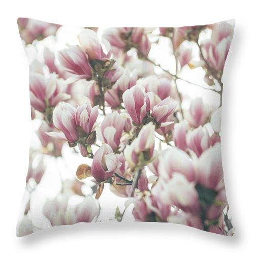 Magnolia Throw Pillow featuring the pyrography Magnolia by Jelena Jovanovic