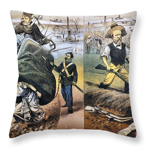 1880 Throw Pillow featuring the photograph Reconstruction Cartoon by Granger