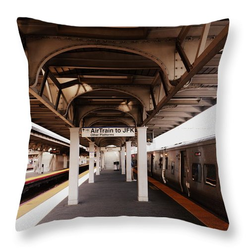 Jamaica Ny Throw Pillow featuring the photograph Train Station Series by Rhona Lawrence