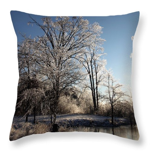 Trees Throw Pillow featuring the photograph Trees In Ice Series by Amanda Barcon