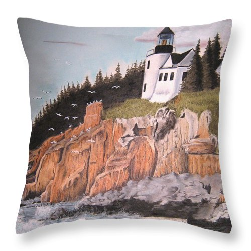 Light House Throw Pillow featuring the pastel Untitled by John Huntsman