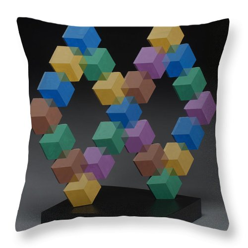 Optical Illusion Scupture Throw Pillow featuring the sculpture Untitled 7 by Marston A Jaquis