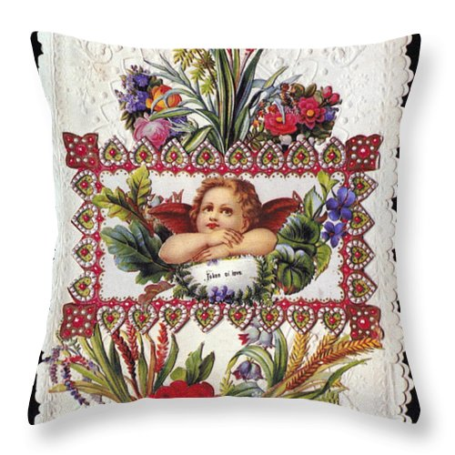 1890 Throw Pillow featuring the photograph Valentines Day Card by Granger
