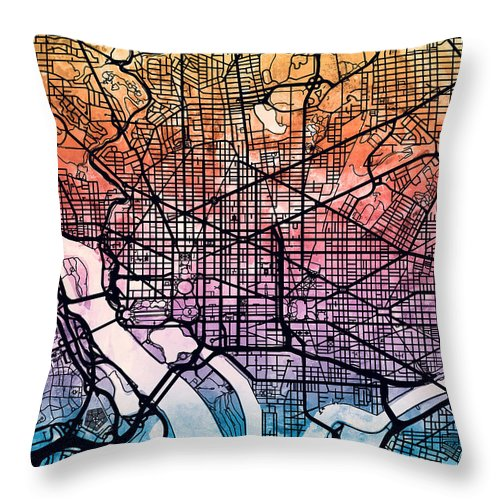 Street Map Throw Pillow featuring the digital art Washington Dc Street Map by Michael Tompsett