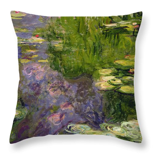 Nympheas; Water; Lily; Waterlily; Impressionist; Green; Purple Throw Pillow featuring the painting Waterlilies by Claude Monet