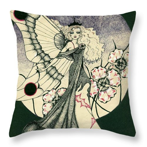 70's Style Throw Pillow featuring the drawing 70's Angel by V Boge