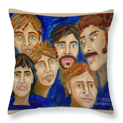 Portrait Throw Pillow featuring the painting 70s Band Reunion by Laurie Morgan