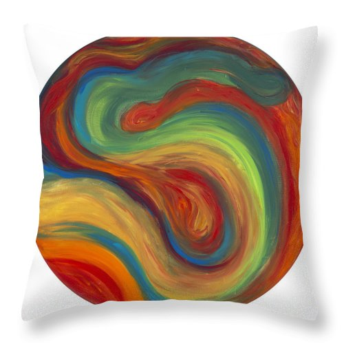 Acrylic Abstract Canvas Throw Pillow featuring the painting 70s Influence by Patty Vicknair