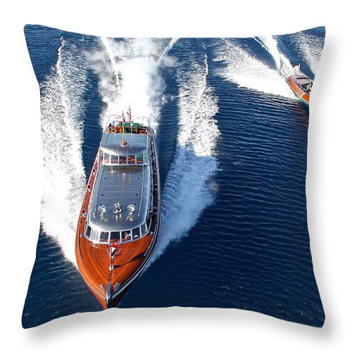 Runabout Throw Pillow featuring the photograph Classic Wooden Runabouts by Steven Lapkin