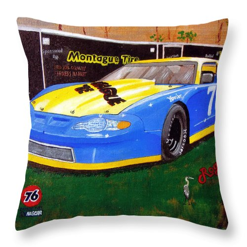 Nascar Throw Pillow featuring the painting 76 Roger Crane by Richard Le Page