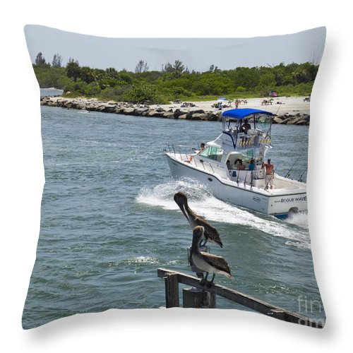 Florida Throw Pillow featuring the photograph Sebastian Inlet State Park In Florida by Allan Hughes
