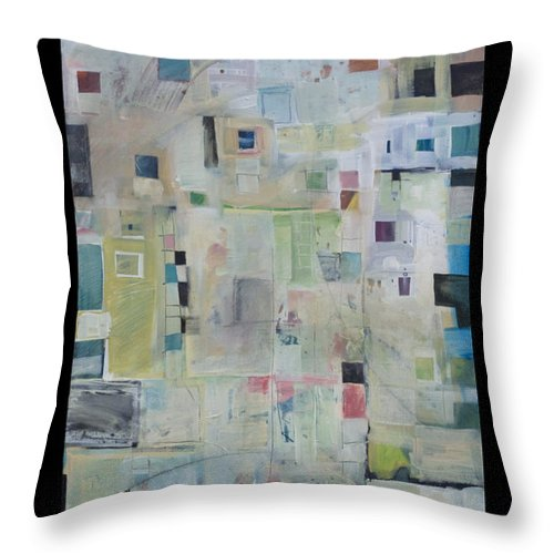 Abstract Throw Pillow featuring the painting 7am In The City That Doesn by Tim Nyberg