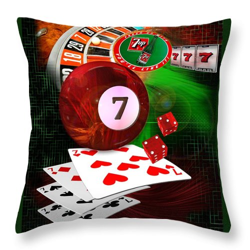 Pool Throw Pillow featuring the digital art 7's Up by Draw Shots