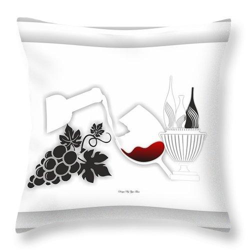 Throw Pillow featuring the digital art Abstract Monochrome by Ziya Tatar