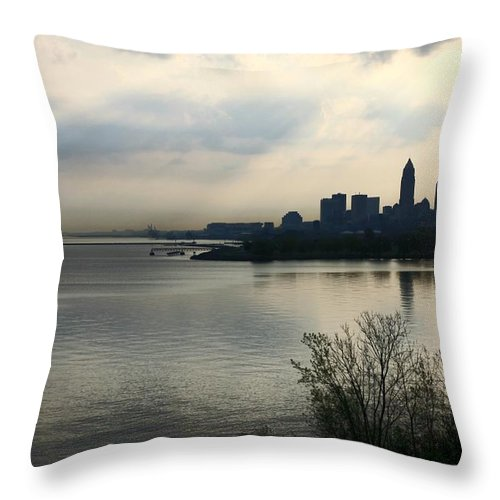 Destination Throw Pillow featuring the pyrography Cleveland City Skyline by Douglas Sacha