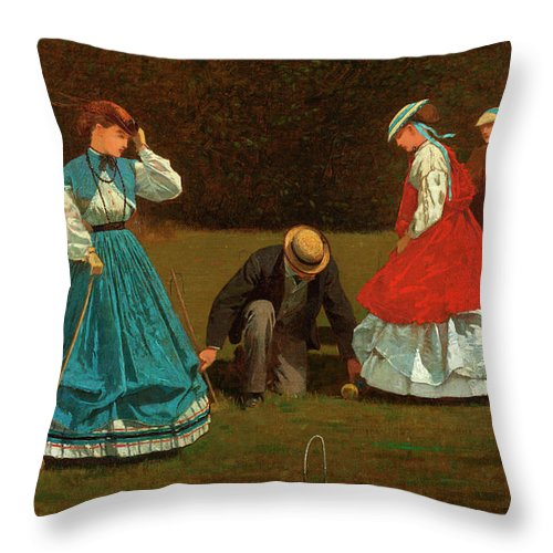 Croquet Scene Throw Pillow featuring the painting Croquet Scene by Winslow Homer