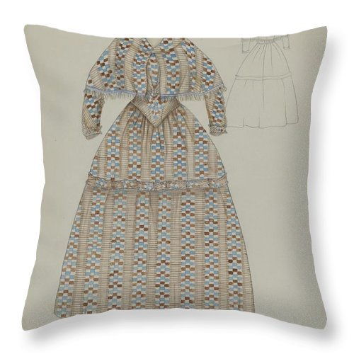 Throw Pillow featuring the drawing Dress by Nancy Crimi