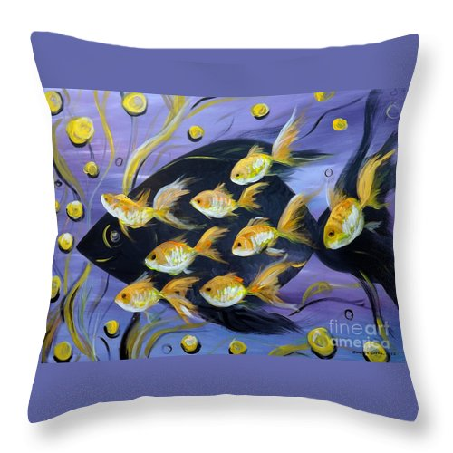 Fish Throw Pillow featuring the painting 8 Gold Fish by Gina De Gorna