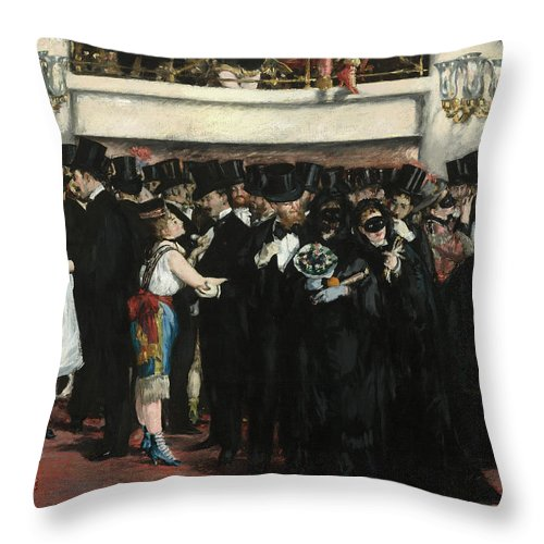 Edouard Manet Throw Pillow featuring the painting Masked Ball At The Opera by Edouard Manet