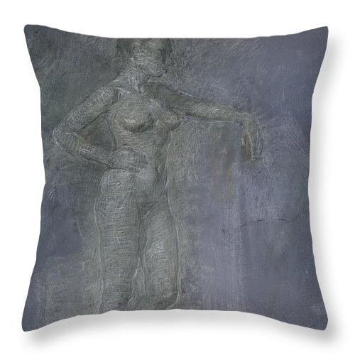 Beauty Throw Pillow featuring the painting Model by Robert Nizamov