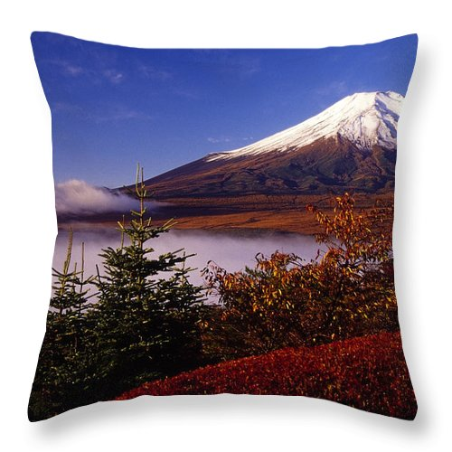 Japan Throw Pillow featuring the photograph Mount Fuji In Autumn by Michele Burgess