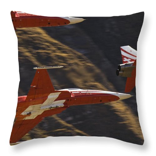 Patrouille Suisse Throw Pillow featuring the photograph Patrouille Suisse by Angel Ciesniarska