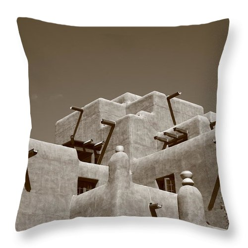 66 Throw Pillow featuring the photograph Santa Fe - Adobe Building by Frank Romeo