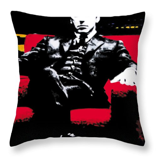 Al Pacino Throw Pillow featuring the painting The Godfather by Luis Ludzska