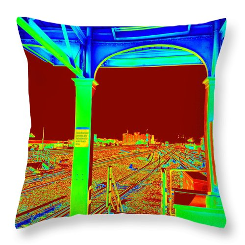 Tracks Throw Pillow featuring the photograph Train Station Series by Rhona Lawrence