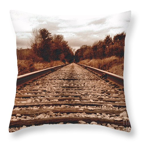Sepia Throw Pillow featuring the photograph 86ed On The Tracks by September Stone