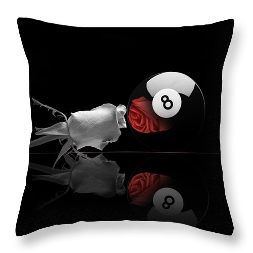 Pool Throw Pillow featuring the digital art 8BW by Draw Shots