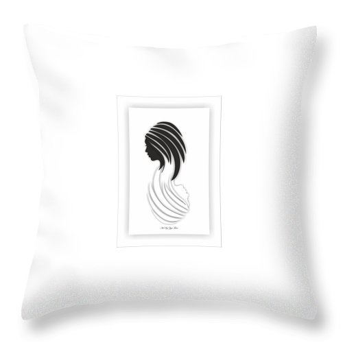 Throw Pillow featuring the digital art Abstract Monochrome by Ziya Tatar