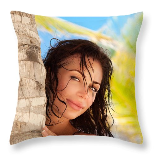 America Throw Pillow featuring the photograph Beautiful Woman On The Beach by Anna Om