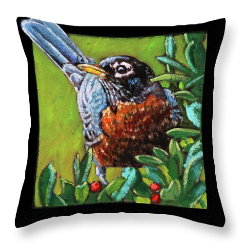 Robin Throw Pillow featuring the painting Birdman Of Alcatraz Detail by John Lautermilch