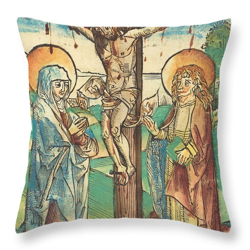 Throw Pillow featuring the drawing Christ On The Cross by German 15th Century