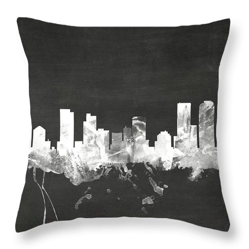 United States Throw Pillow featuring the digital art Denver Colorado Skyline by Michael Tompsett