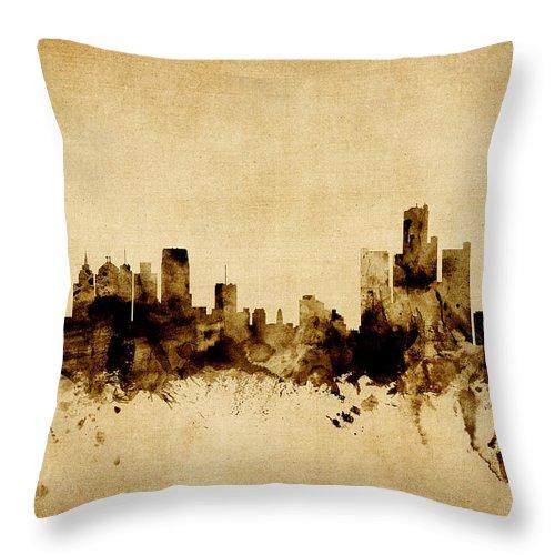 United States Throw Pillow featuring the digital art Detroit Michigan Skyline by Michael Tompsett