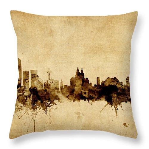 City Throw Pillow featuring the digital art Liverpool England Skyline by Michael Tompsett