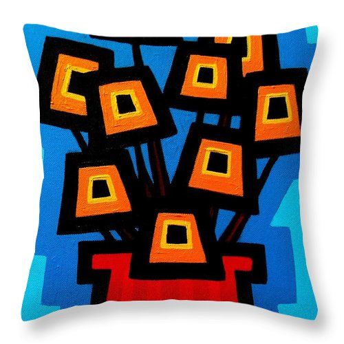 Acrylic Throw Pillow featuring the painting 9 Orange Poppies by John Nolan