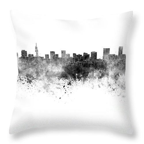 Pretoria Skyline Throw Pillow featuring the painting Pretoria Skyline In Watercolor Background by Pablo Romero