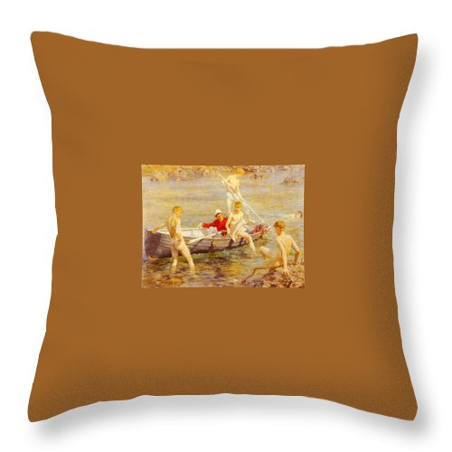 Canal Throw Pillow featuring the digital art Tuke Henry Scott Ruby Gold And Malachite Henry Scott Tuke by Eloisa Mannion