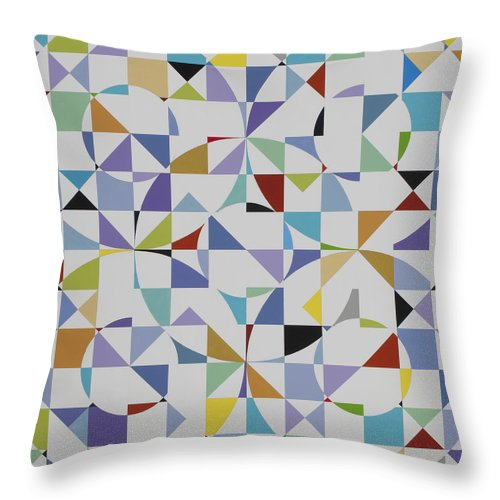Colorful Geometric Pattern Throw Pillow featuring the painting Untitled 9 by Marston A Jaquis